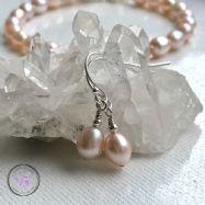 Pink Pearl Silver Earrings